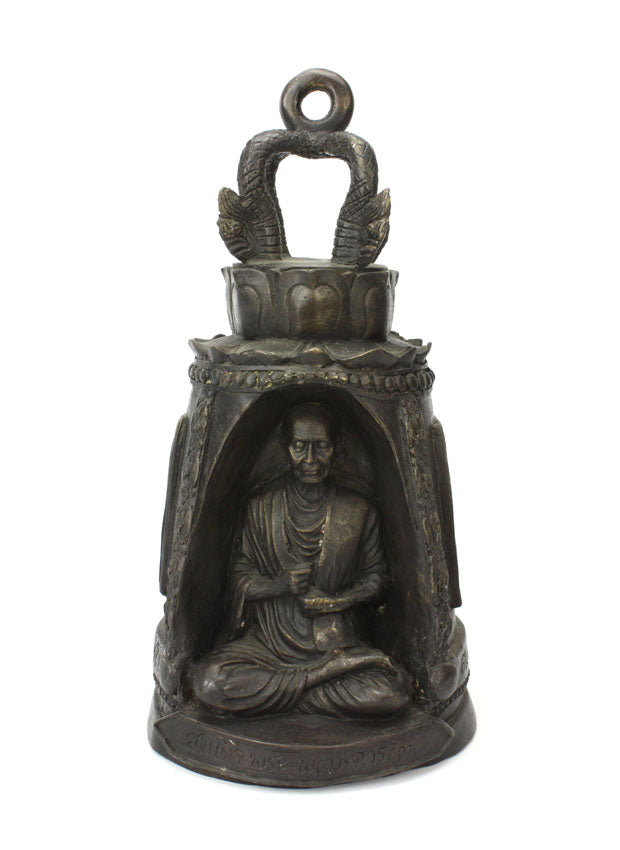 Thai Bronze Metal Temple Bell with Monk, Approx 35cm high, CM6009 - farangshop-co