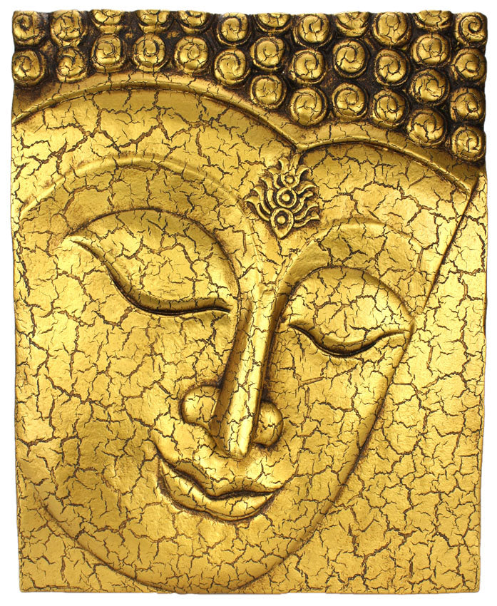 Buddha face panel, cracked gold finish, 51cm high - farangshop-co