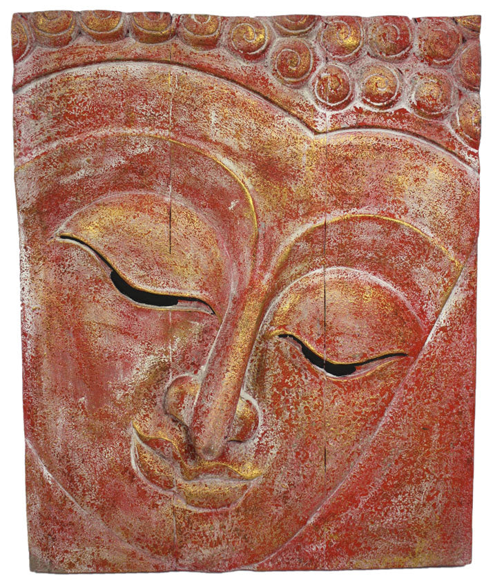 Buddha face wooden panel, red with gold highlights textured finish - 62cm high, Thai - farangshop-co