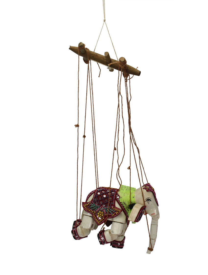 Traditional Burmese Elephant Puppet Marionette, Small Size - farangshop-co