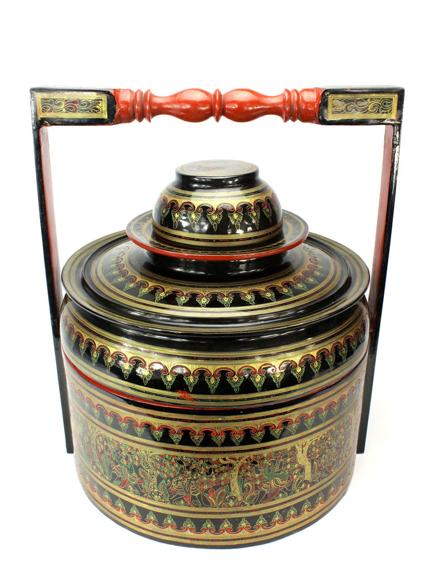 Burmese Lacquerware Food Carrier - Large Htamin-gyaing - farangshop-co