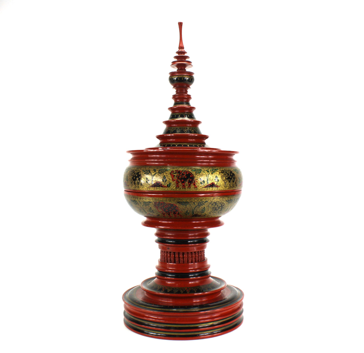 Burmese lacquerware offering vessel, known as hsun ok or soon-oke, cinnabar, 67cm high. - farangshop-co