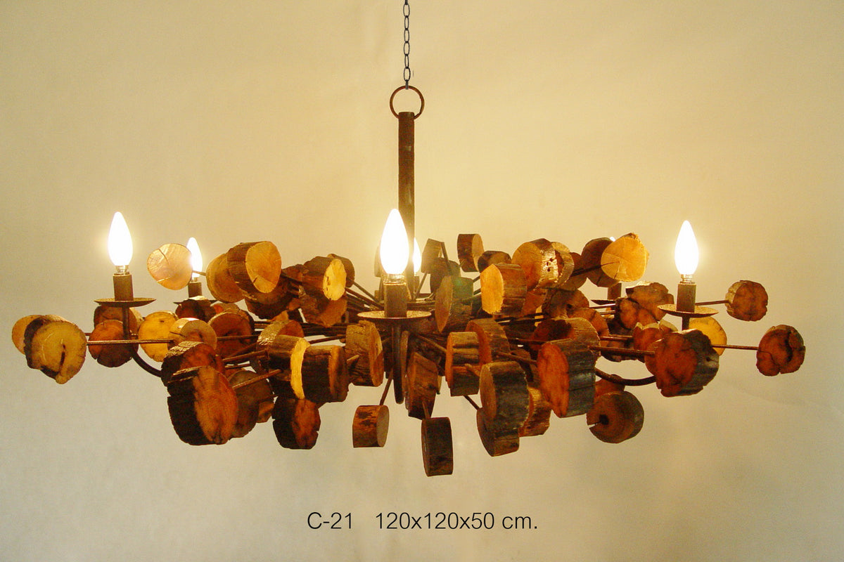 Thai lighting - Natural reclaimed wood Chandalier. XL Extra large 120cm. - farangshop-co