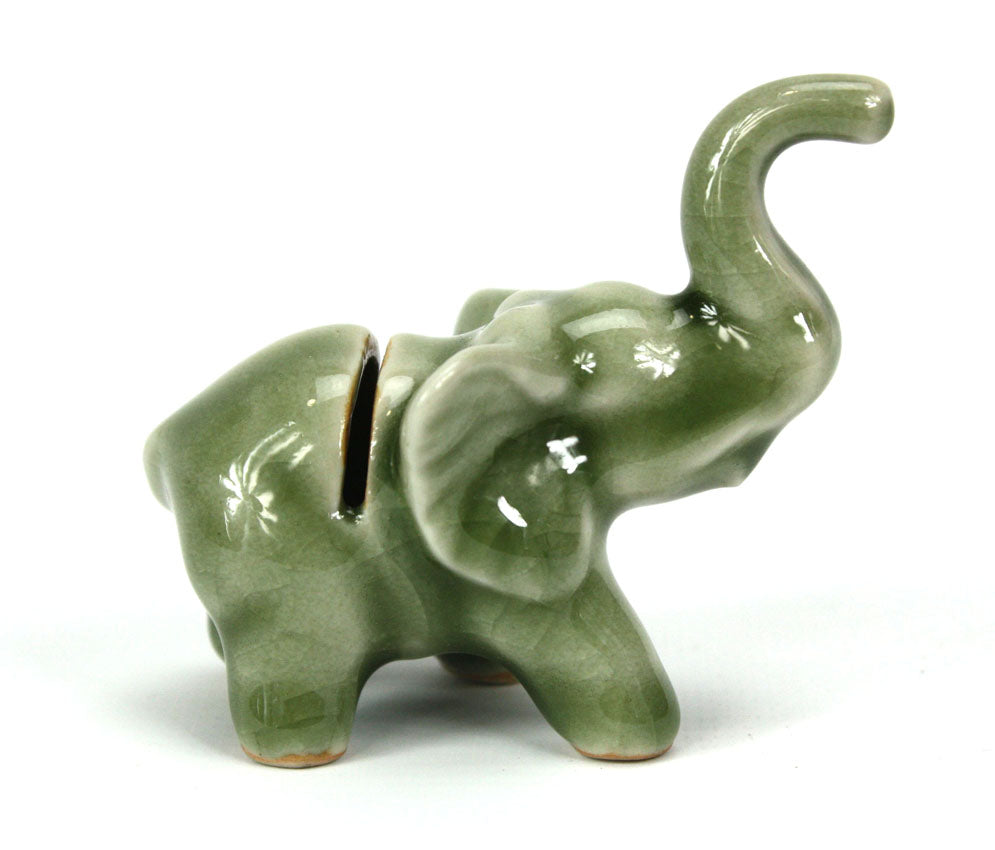 Business card holder, elephant made from Thai celadon - farangshop-co