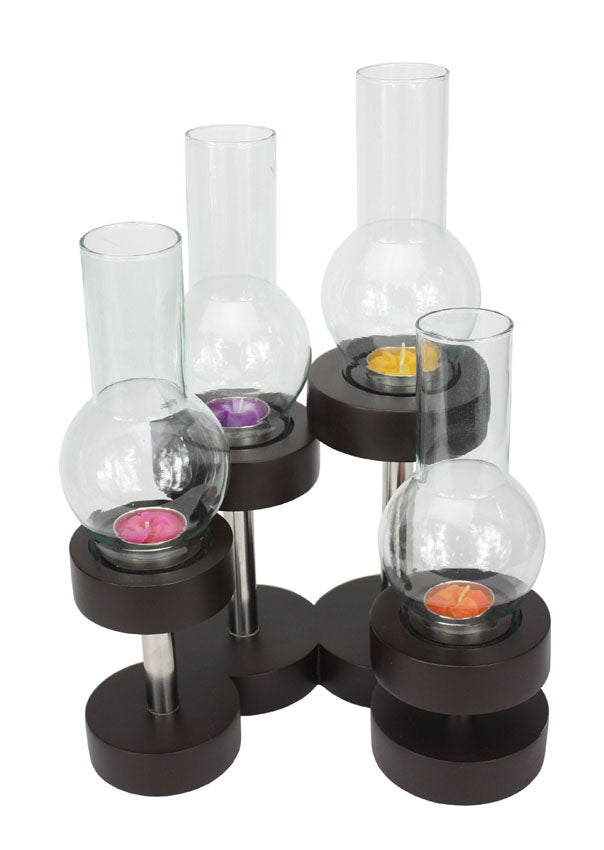 Contemporary Thai candle holder with 4 glass lanterns - farangshop-co