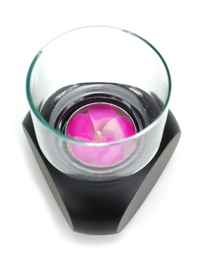 Tealight candle holder. Contemporary single glass, Thailand - farangshop-co