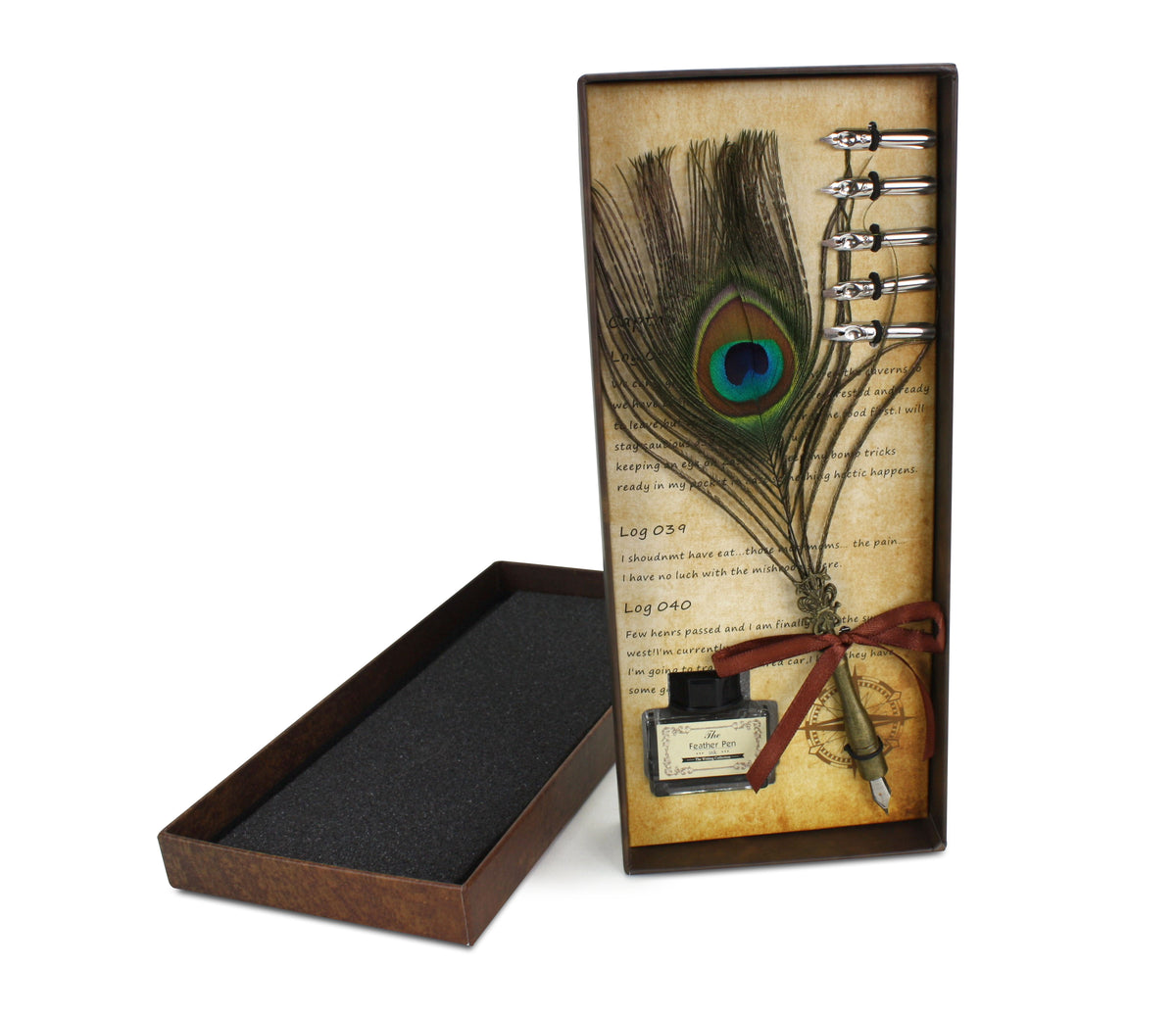 The Feather Pen: Vintage Style Calligraphy Fountain Pen Set with ink. Peacock feather. - farangshop-co