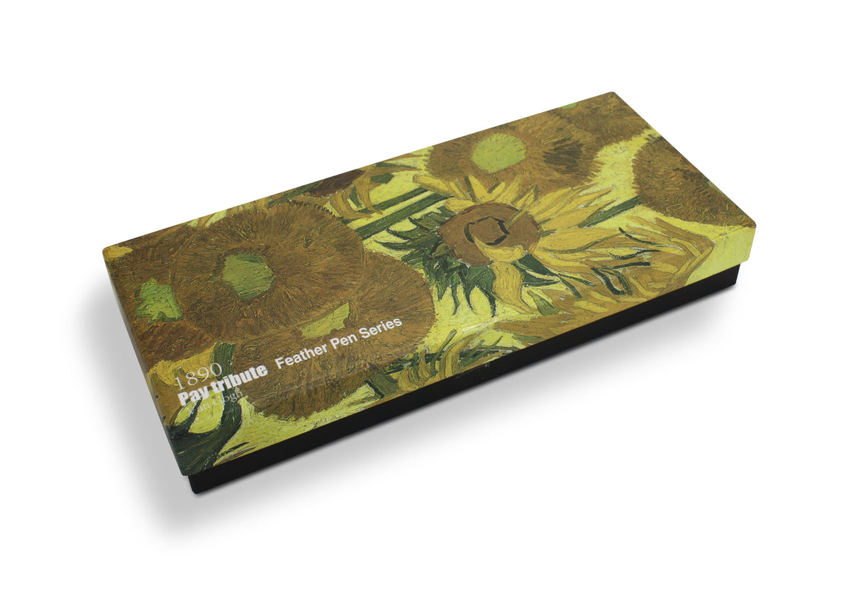 Van Goch Sunflowers Feather Pen Set: Vintage Style Calligraphy Fountain Pen Set with ink. - farangshop-co