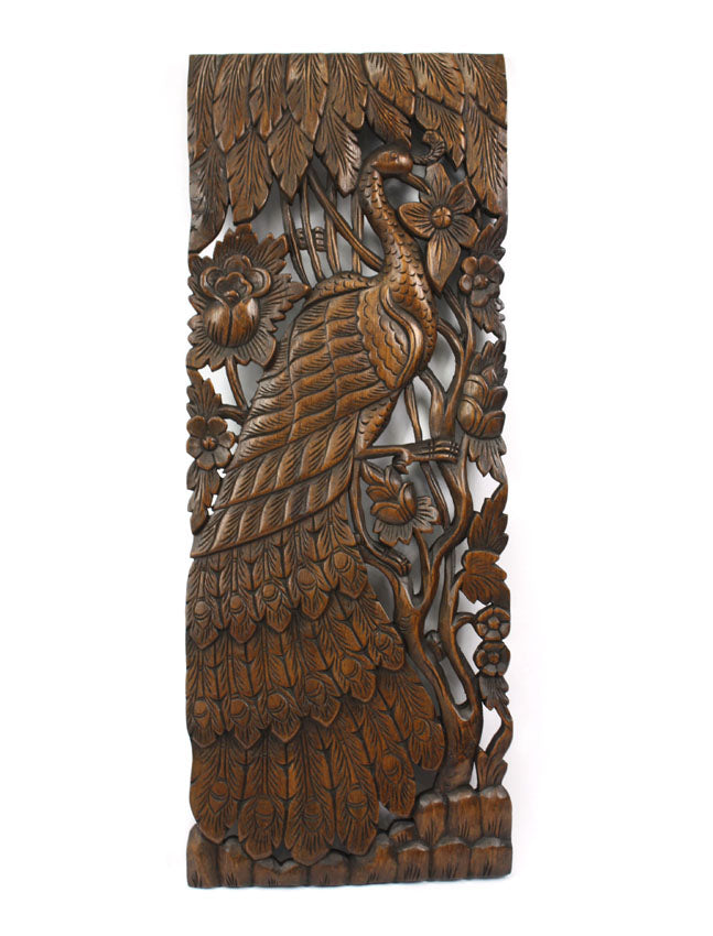 Pair of carved teak wall panels, Peacock design, each 90cm x 35cm, PK02 - farangshop-co