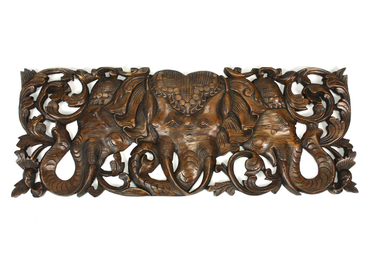 Carved teak wall panels, three headed elephant Erawan design, 90cm x 35cm, ER03 - farangshop-co