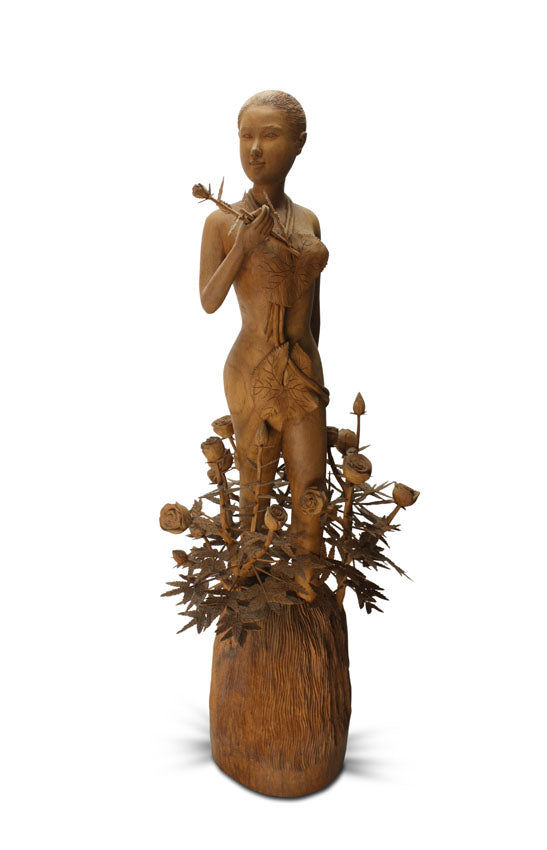 Thai teak woodcarving of a Standing Lady with Flowers - farangshop-co