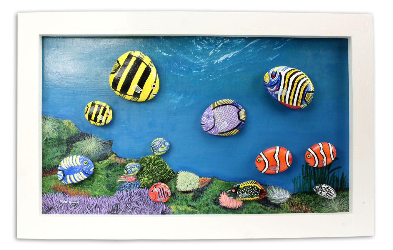 Hand Painted animals on rocks - Framed Ocean Scene with Many Fish, montage - farangshop-co
