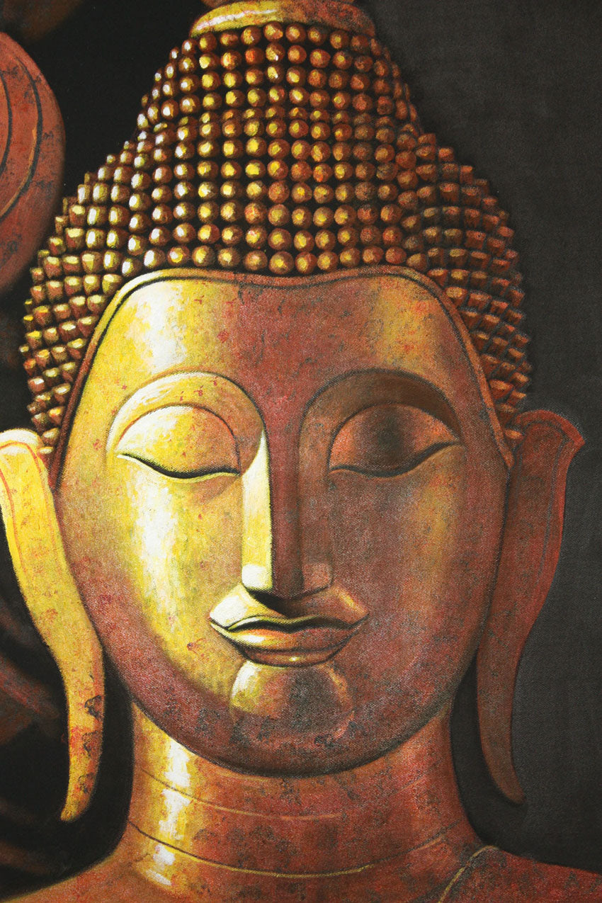 Gold Buddha painting, 100cm x 80cm. - farangshop-co