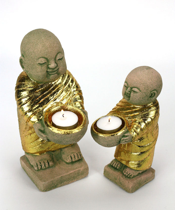 Gold Sandstone monk tealight candle holder - large size - farangshop-co