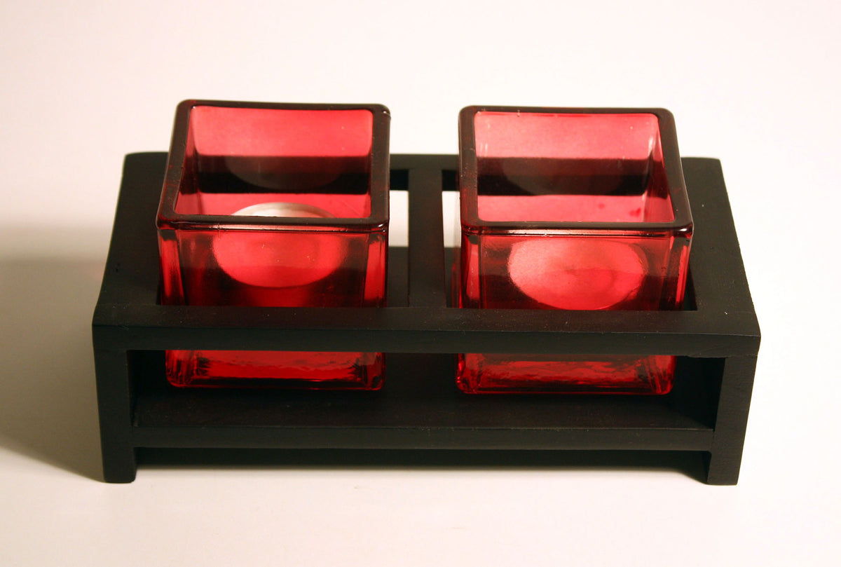 Mango wood and glass double tealight candle holder - farangshop-co