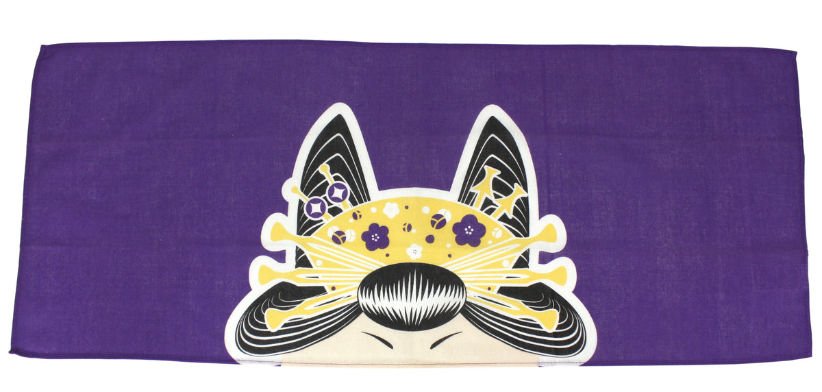 Japanese Head Covering Cloth, Oiran Style, 87cm x 35cm Bandana Style Cotton Hand Towel - farangshop-co