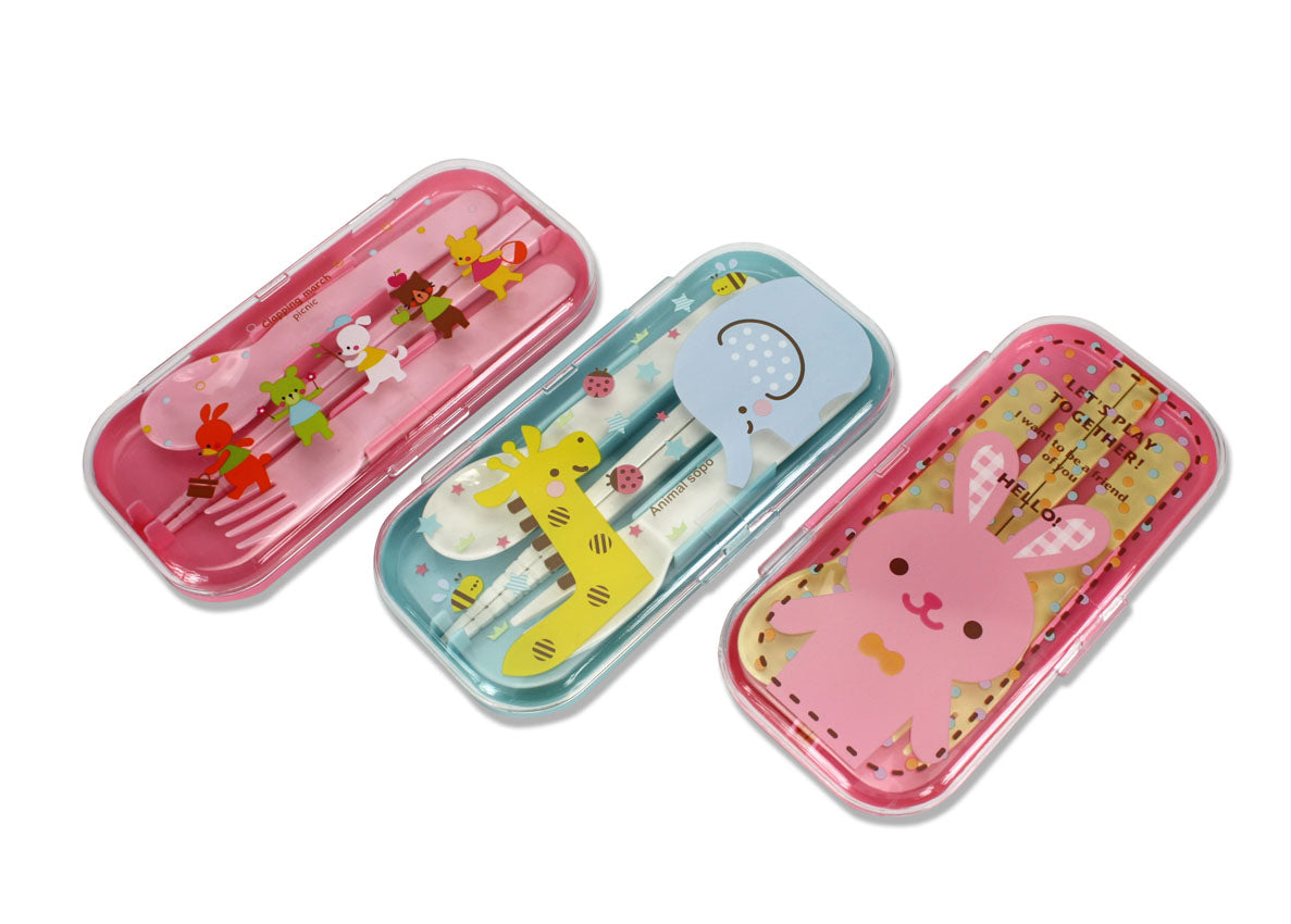 Cute Japanese Chopsticks Set with Cutlery for Children - Choice of Animal Designs - farangshop-co