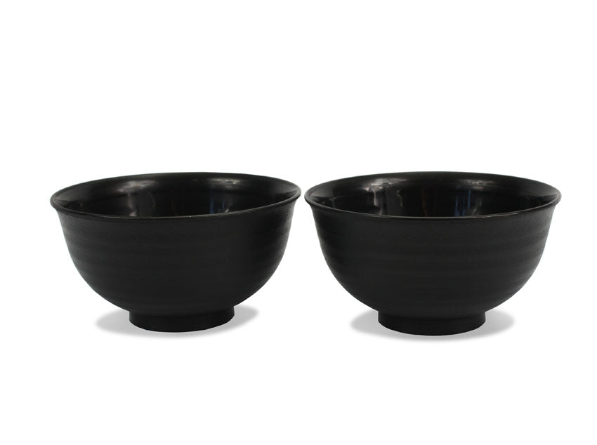Japanese Lacquer Food Bowl, Noodle Bowl, Ridged Black exterior - farangshop-co
