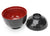 Japanese Lacquer Lidded Miso Soup Bowl, Black - Set of 4 - farangshop-co