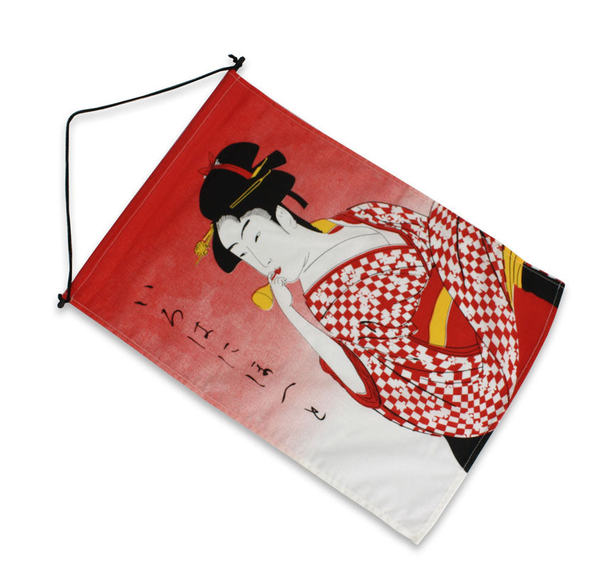 Japanese Noren Curtain Restaurant Banner, Flag - Ukiyo-e Lady - farangshop-co