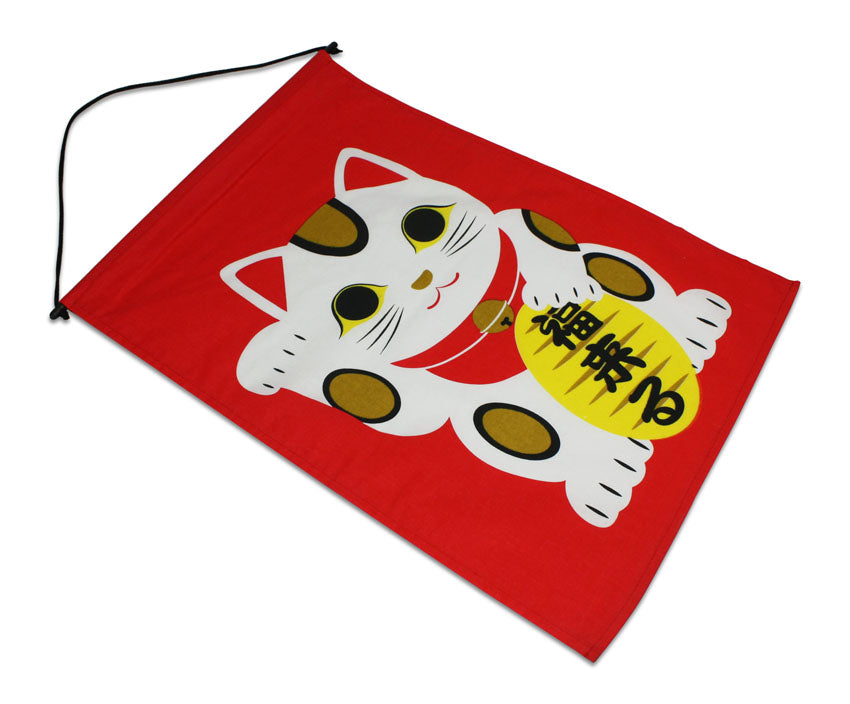 Japanese Noren Curtain Restaurant Banner, Flag - Maneki Neko Lucky Cat - farangshop-co
