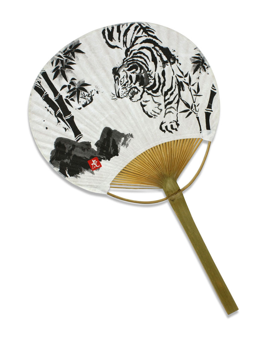 Decorative Japanese Paper Fan - Ink Painting of a Tiger - farangshop-co