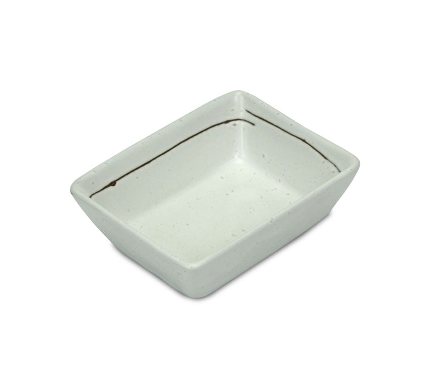 Japanese Sushi Sashimi Soy Sauce Dipping Tray, Condiment Dish, Speckled Cream - farangshop-co