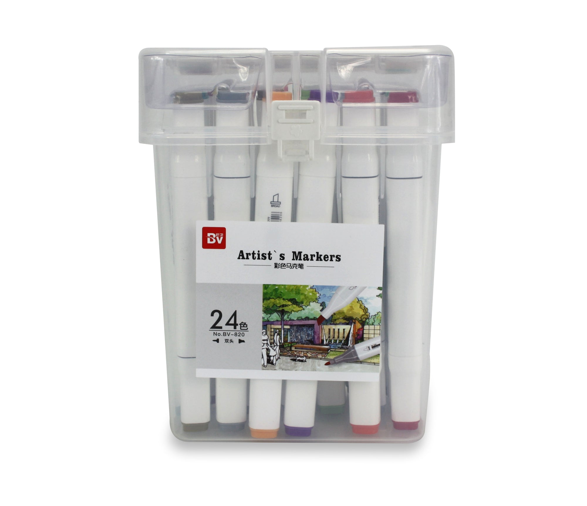 Artist's Marker Set - 24 Permanent Alcohol-based marker pens in carry case. - farangshop-co