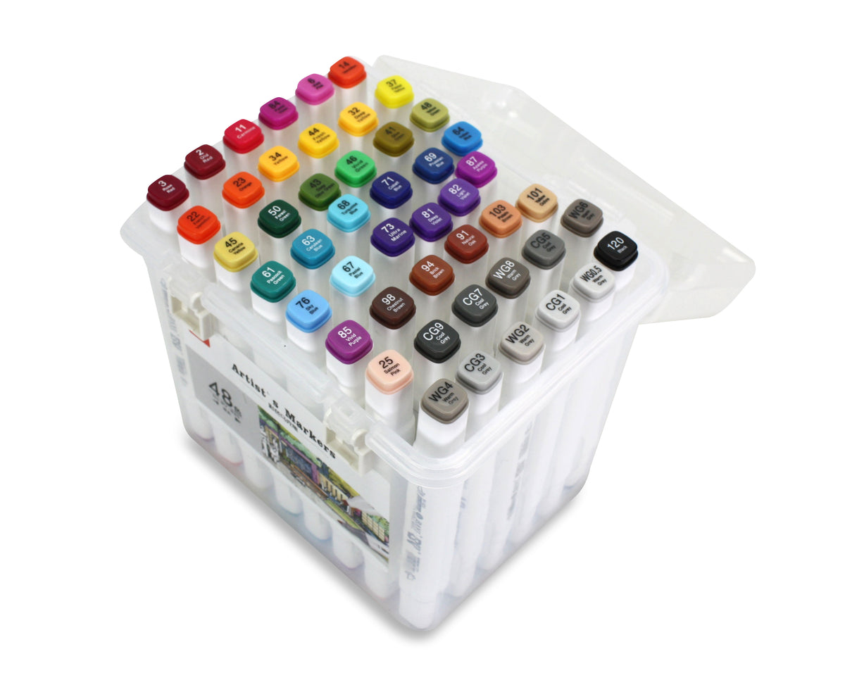Artist's Marker Set - 48 Permanent Alcohol-based marker pens in carry case. - farangshop-co