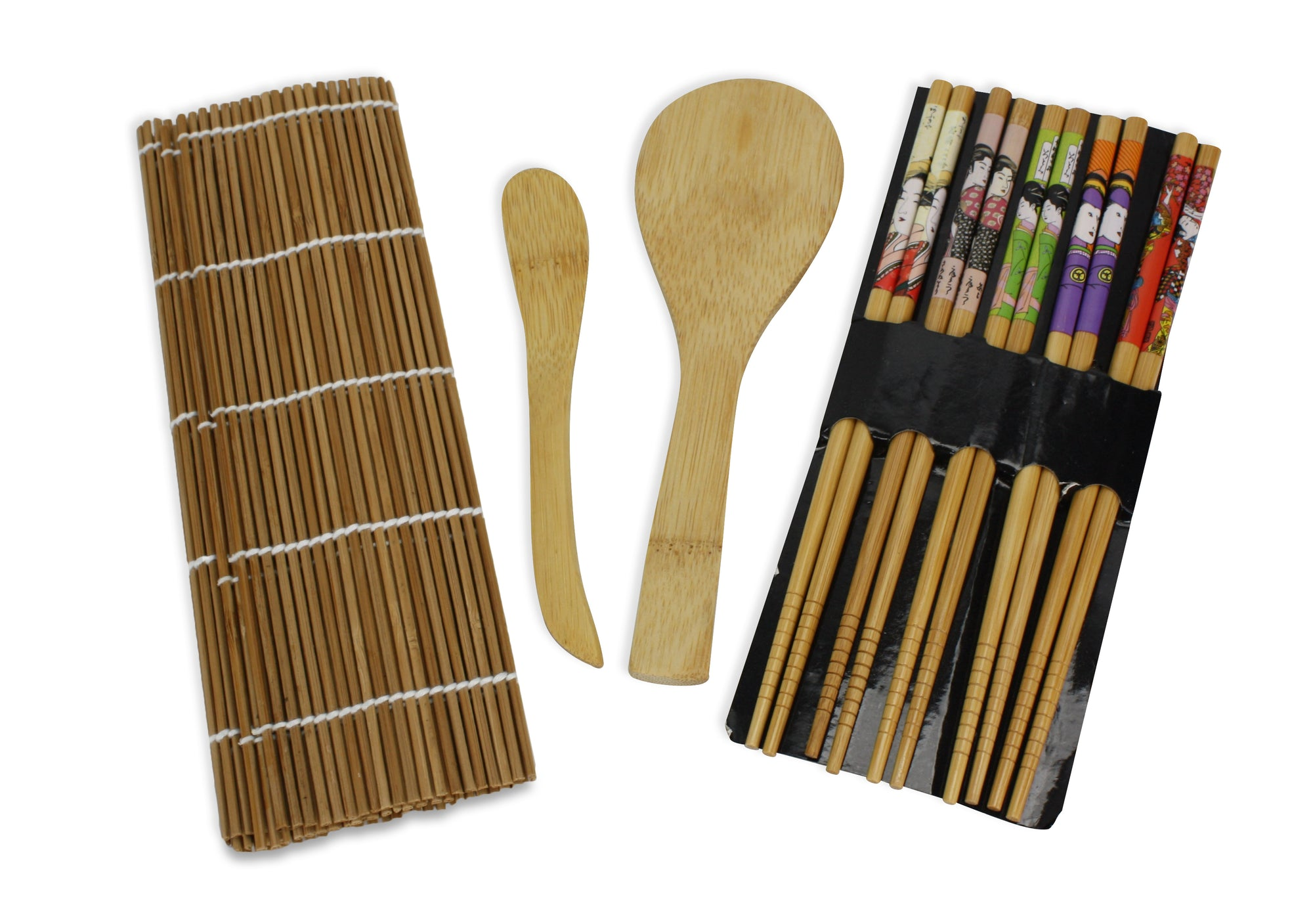 Bamboo 9 Piece Ukiyo-e Sushi Set. Chopsticks, Rolling mats, Rice paddle & spoon set. - farangshop-co