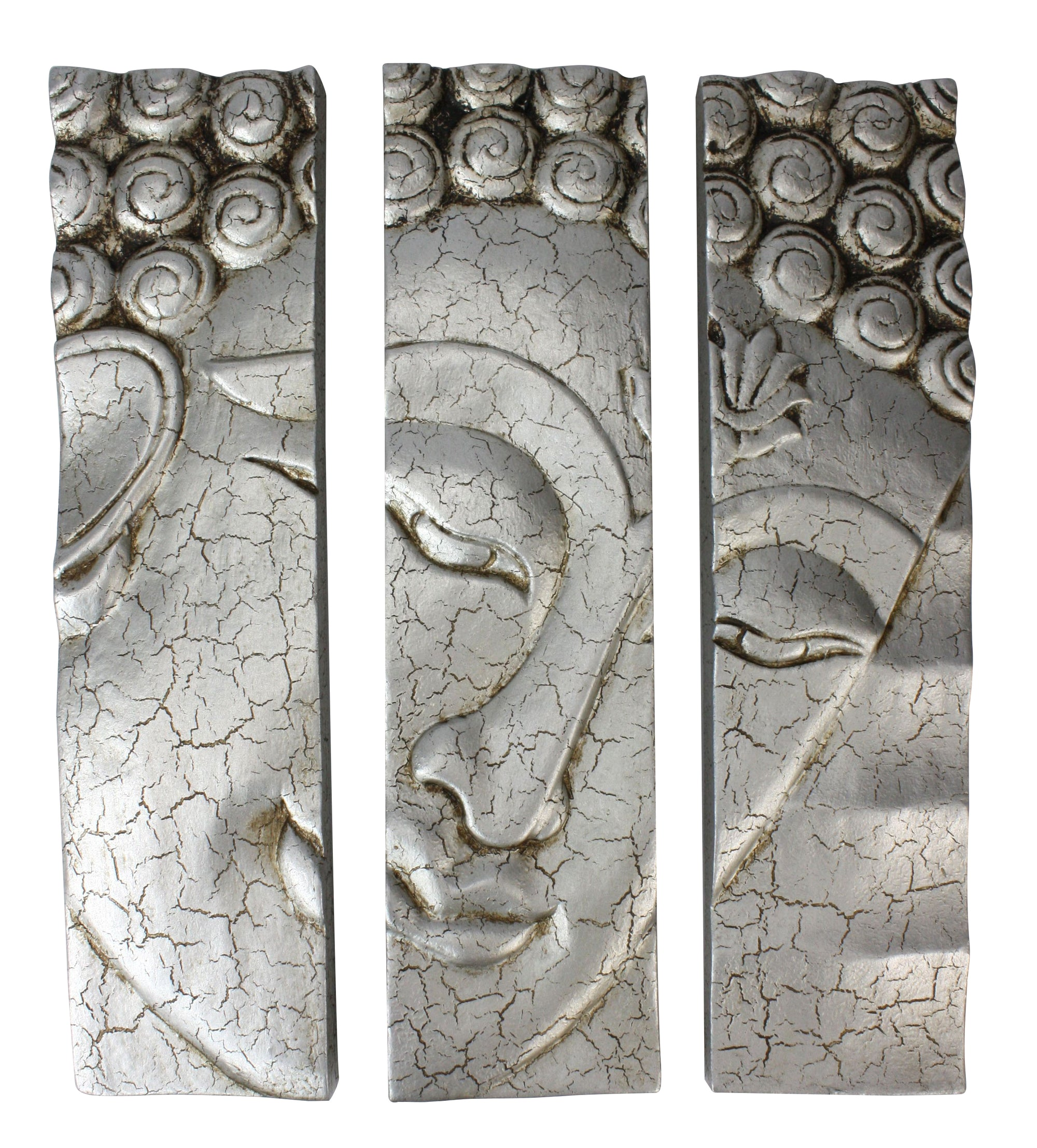 Buddha face panel, 3-part cracked silver, 38.5cm - farangshop-co