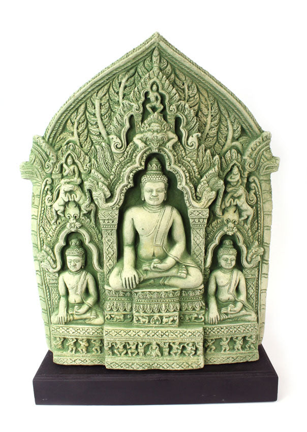 Sandstone Buddha relief on stand, Khmer style, 57cm high - farangshop-co