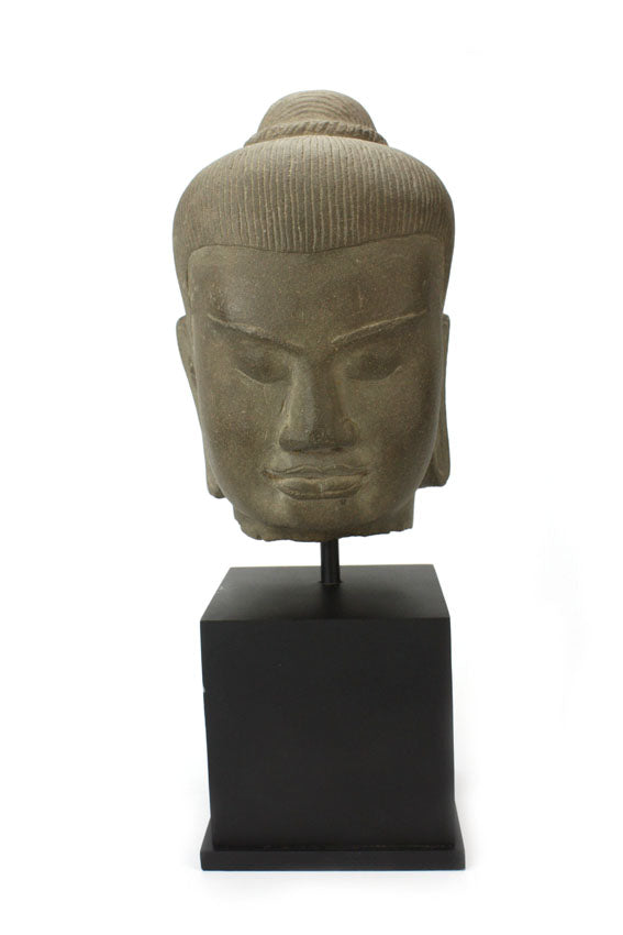 Khmer stone carving, King Jayavarman VII head, 38cm - farangshop-co