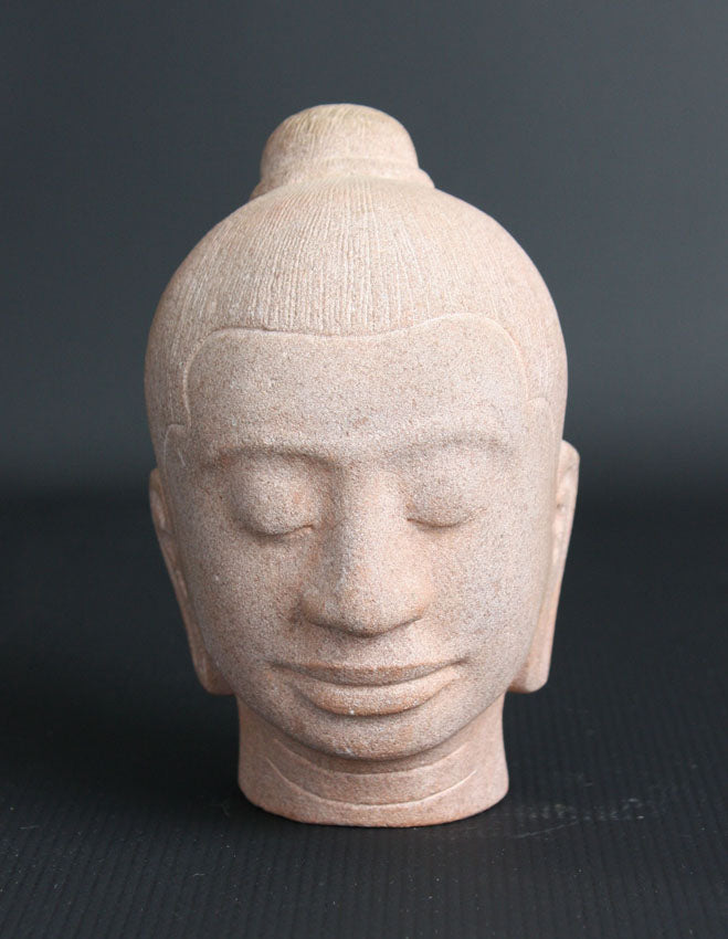 King Jayavarman VII stone head, 15cm high - farangshop-co