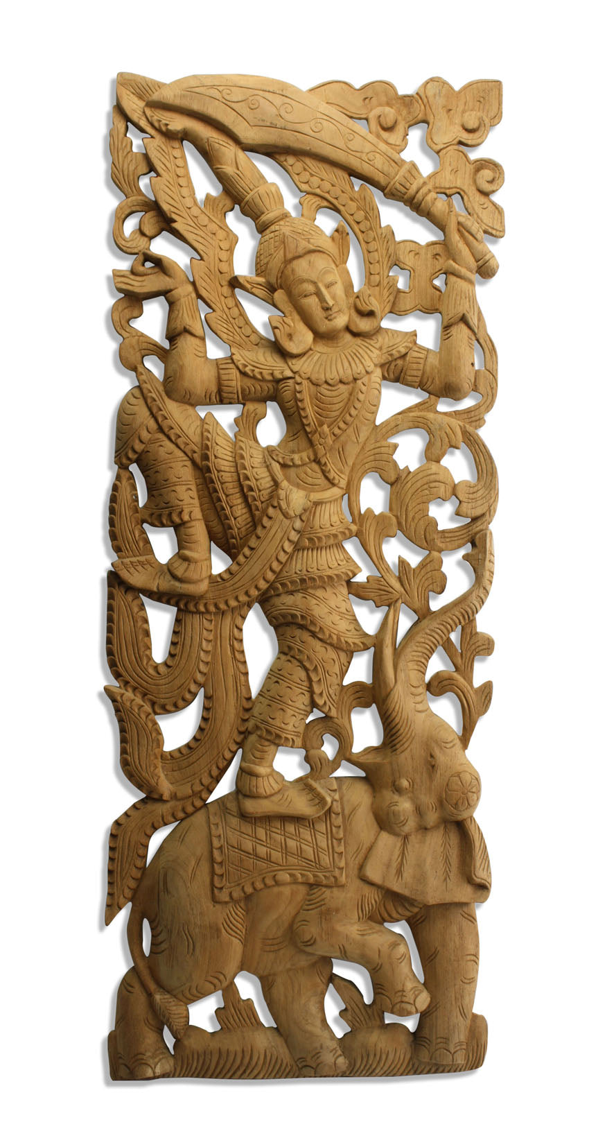 Thai woodcarved teak panels - Elephant with kinaree and kinara - farangshop-co