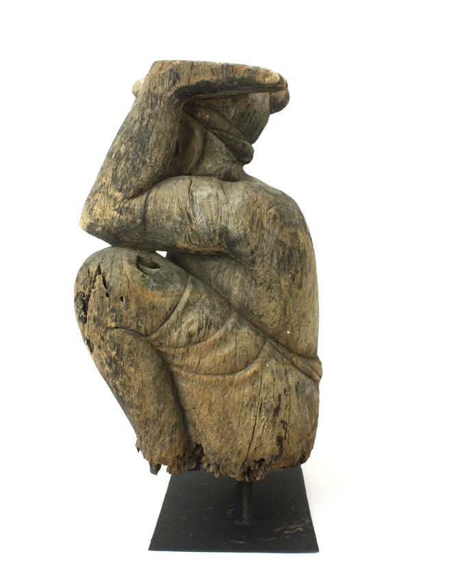 Old Thai Woodcarved Statue, Large Kneeling figure, 56cm high, TWMF05 - farangshop-co