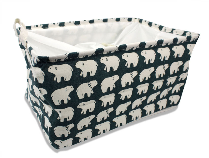 Polar Bear Laundry Basket by Moshi Moshi, Drawstring, 46cm x 31.5cm x 25cm - farangshop-co