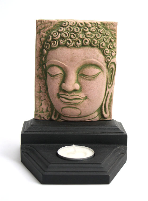 Buddha face - sandstone candle holder - small, SCH5 - farangshop-co