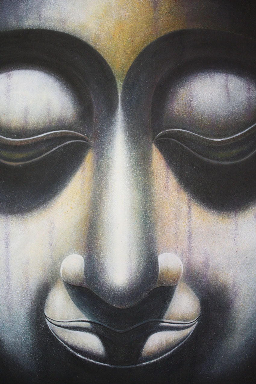 Serene Buddha face painting, 110cm x 81cm - farangshop-co