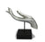 Buddha hand sculpture on stand - horizontal. Cracked Silver Colour. - farangshop-co