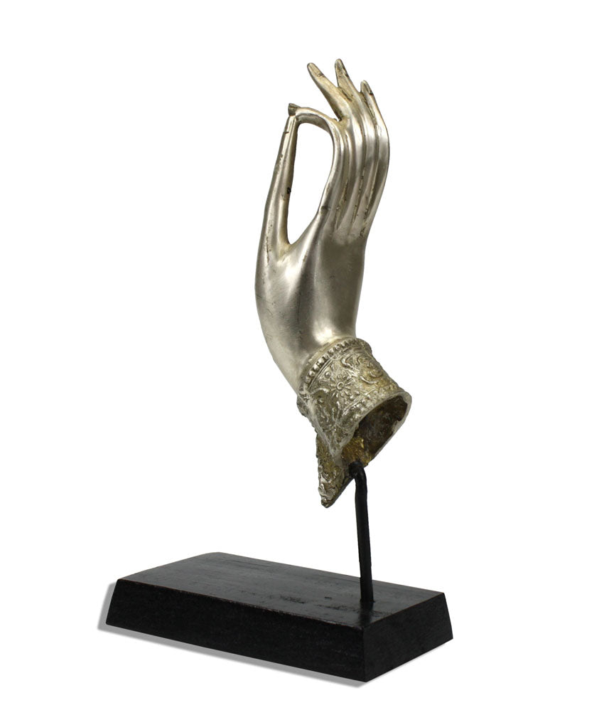 Buddha hand, Silver metal upward, on black wooden stand - 25cm Small size - farangshop-co