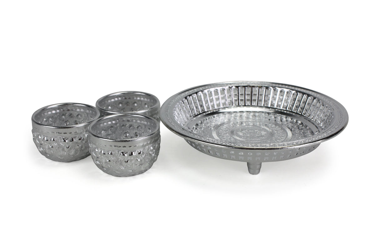 Thai Buddhist Offering Set - 3 cups and tray - silver - farangshop-co