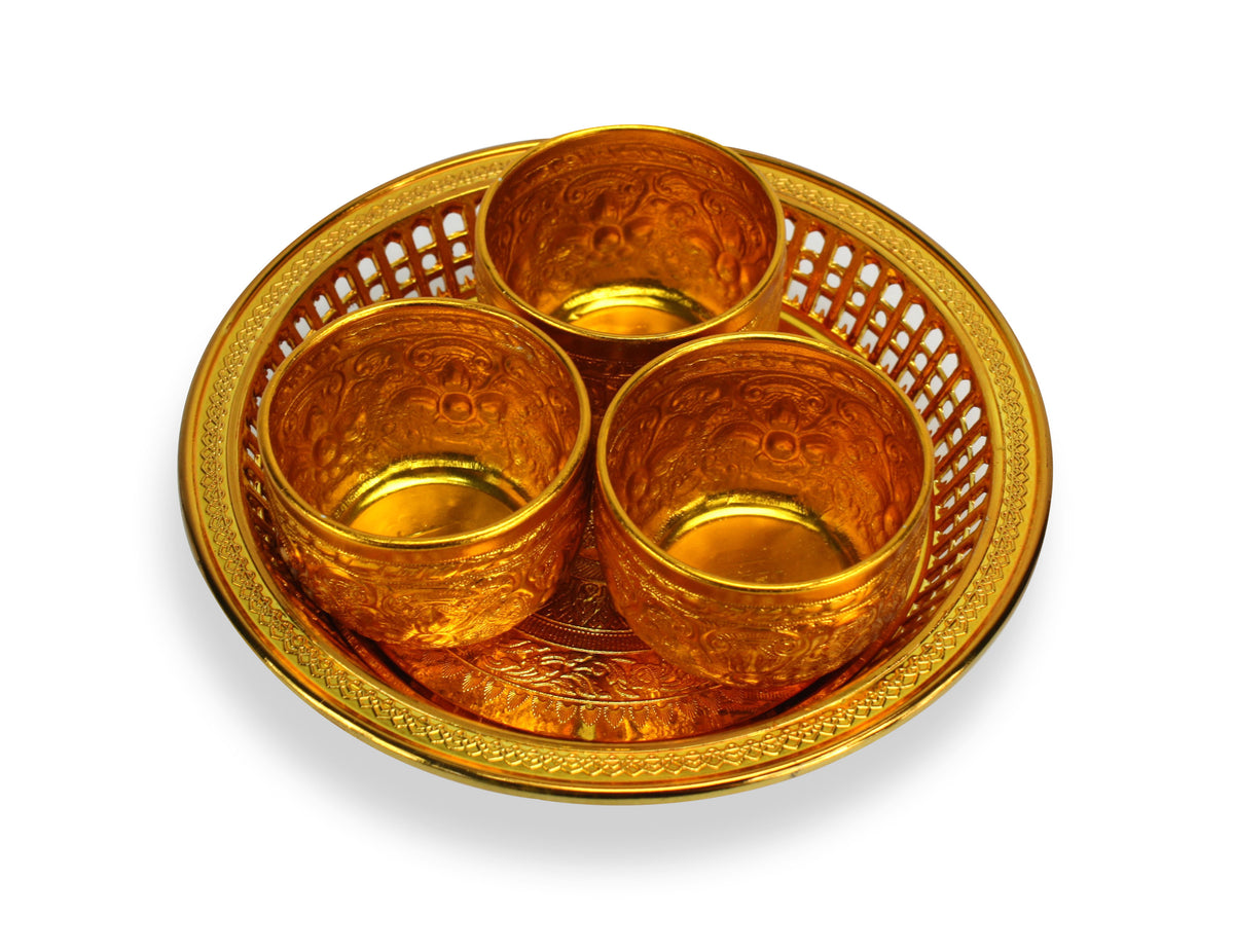 Thai Buddhist Offering Set - 3 cups and tray - gold - farangshop-co