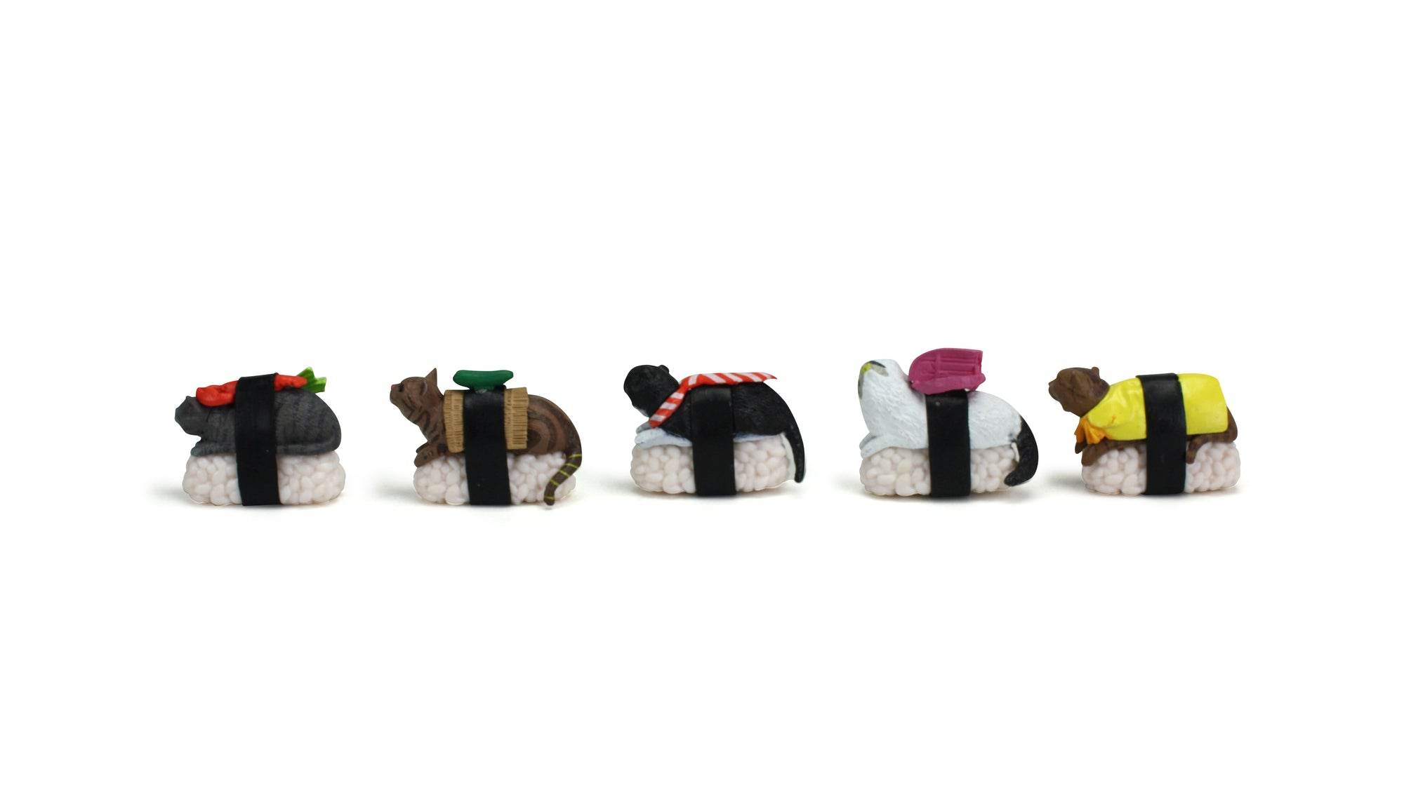 Set of 5 Cute Sushi Cats - farangshop-co