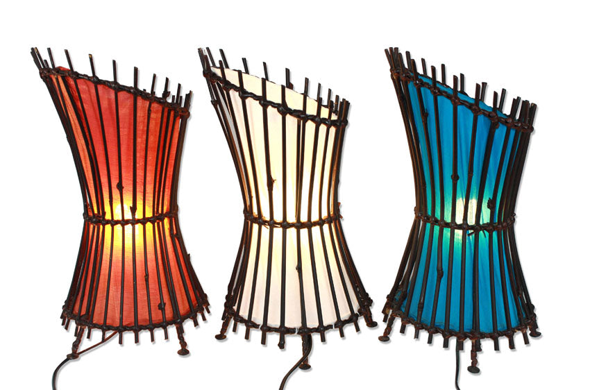 Thai bamboo table lamp - 3 colours available. Style: Curve - farangshop-co