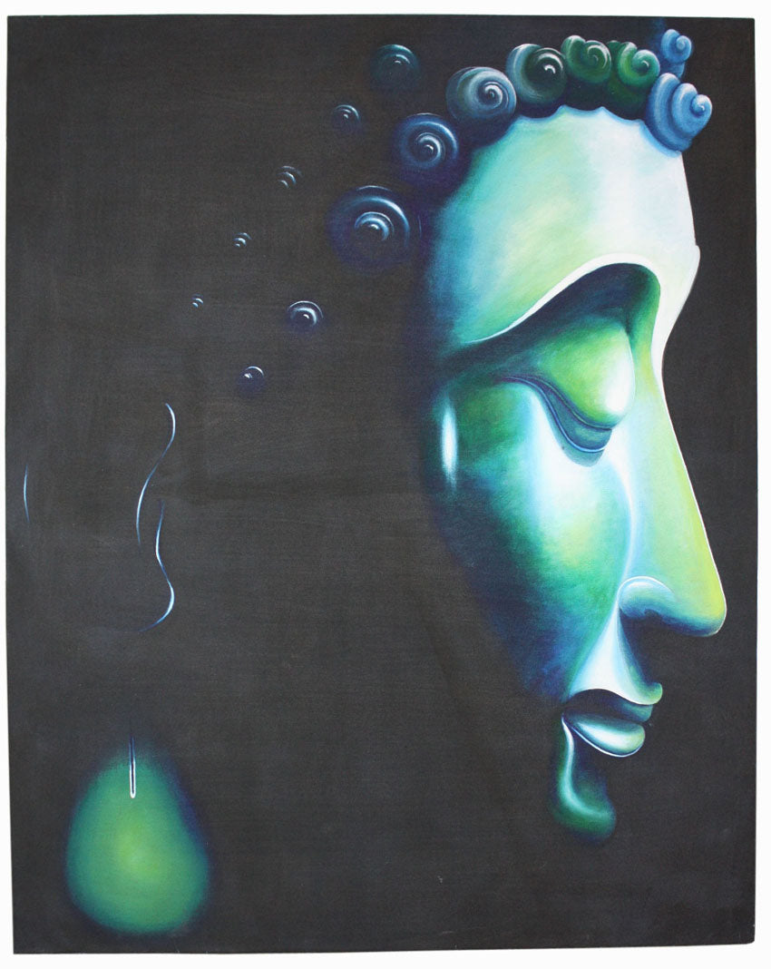 Buddha painting, Thai blue-green Buddha - farangshop-co
