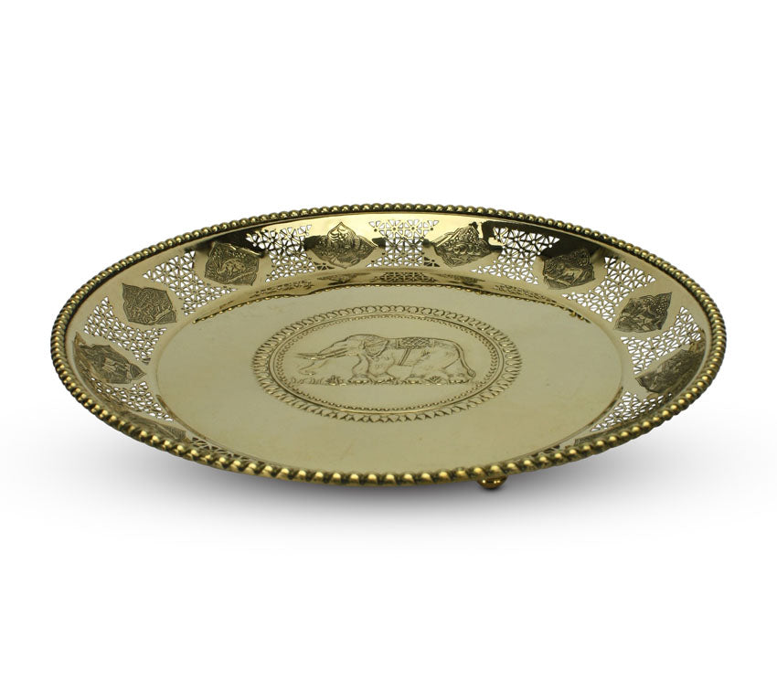 Thai Brass Raised Zodiac Tray with elephant centrepiece - 2 sizes - farangshop-co
