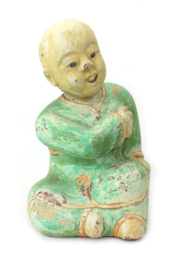 Old Thai Woodcarved Statue, Chinese figure, 36cm high, TWCF01 - farangshop-co