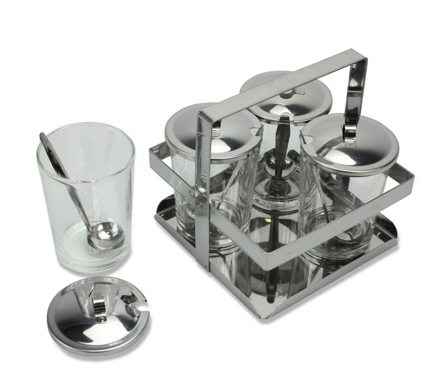 Thai Condiment Set, Stainless Steel, 9 oz glasses, 14cm high x 15cm wide - farangshop-co