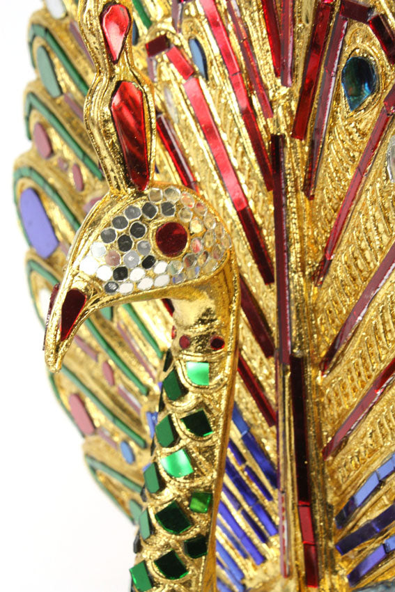 Large Thai Peacock Statue, Real Gold Leaf, 65cm - farangshop-co